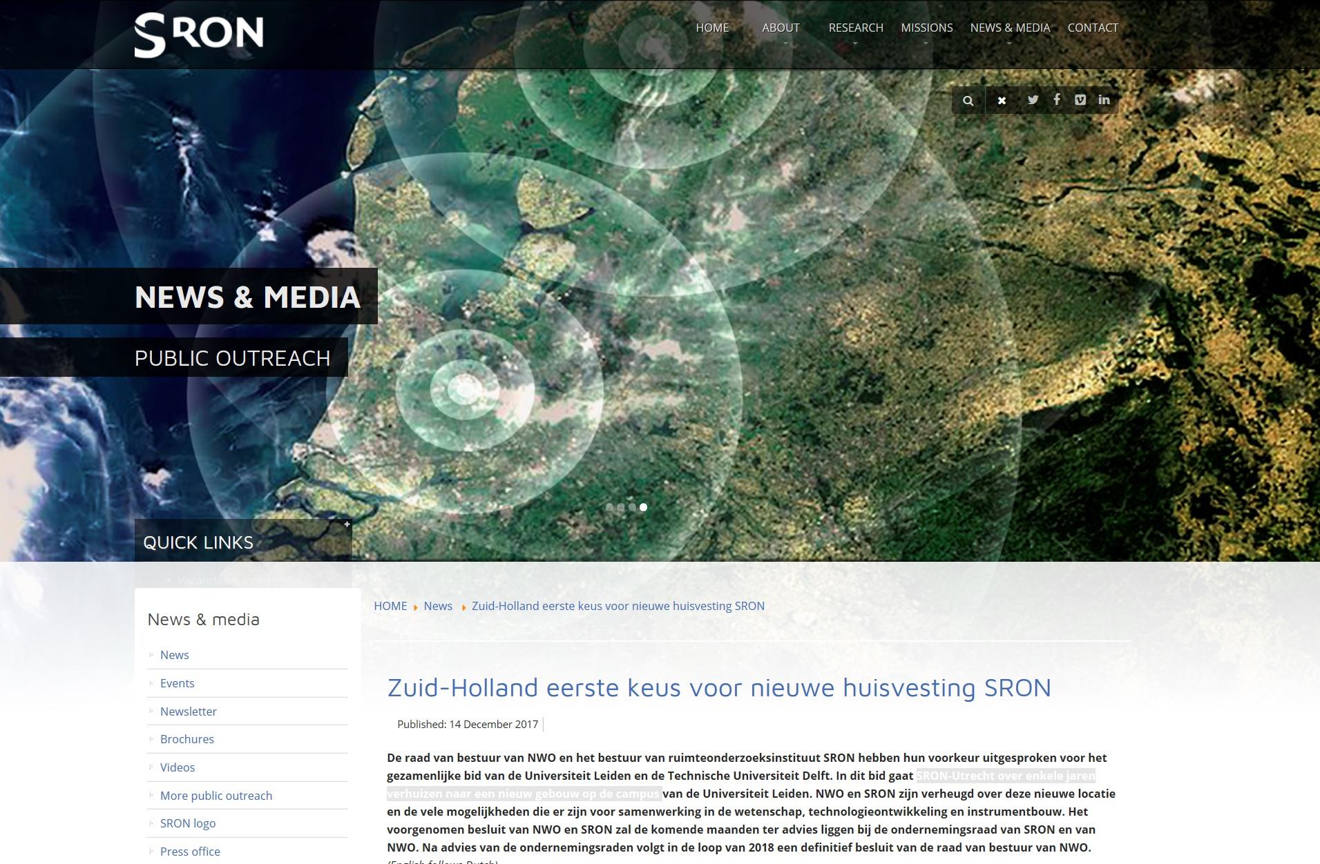 Huisvestingsconcept Voor Nieuwe Locatie SRON
